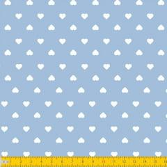 Tecido Tricoline Estampado Corações Branco Fundo Azul Claro 1302v082