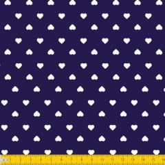 Tecido Tricoline Estampado Corações Branco Fundo Azul Marinho 1302v605