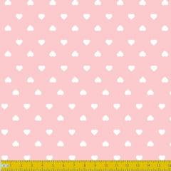 Tecido Tricoline Estampado Corações Branco Fundo Rosa Bebe 1302v081