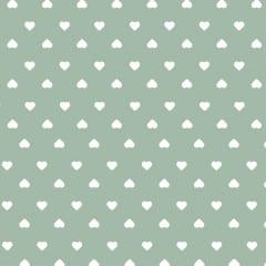 Tecido Tricoline Estampado Corações Branco Fundo Verde 1302v083