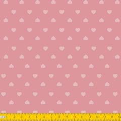 Tecido Tricoline Estampado Corações Fundo Rosa Seco 1302v130