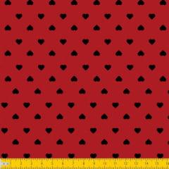 Tecido Tricoline Estampado Corações Preto Fundo Vermelho 1302v011