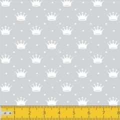 Tecido Tricoline Estampado Mini Coroas Fundo Cinza  1143v091