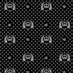 Tecido Tricoline Estampado Corôa Branca Fundo Preto 1169v104