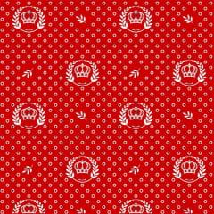 Tecido Tricoline Estampado Corôa Branca Fundo Vermelho 1169v106