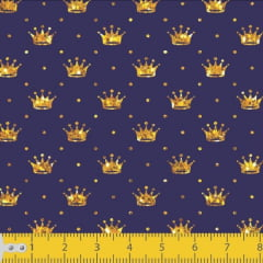 Tecido Tricoline Estampado Mini Coroa Dourada 1143v007