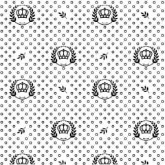 Tecido Tricoline Estampado Coroa Preta Fundo Branco 1169v103