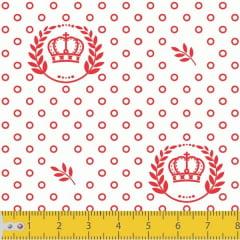 Tecido Tricoline Estampado Coroa Vermelha Fundo Branco 1169v148