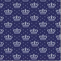 Tecido Tricoline Estampado Coroas com Bolinhas Azul Marinho 2624v04