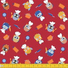 Tecido Tricoline Estampado Corujas Cozinheiras 6143v01