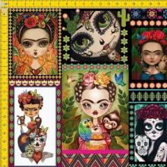 Tecido Tricoline Estampado Digital Bonecas Mexicanas 9100E590