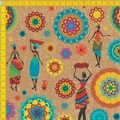 Tecido Tricoline Estampado Digital Étnico Africanas e Arabescos com Fundo Bege 9100E081
