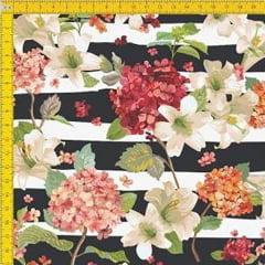 Tecido Tricoline Estampado Digital Floral Listrado 9100E061