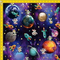 Tecido Tricoline Estampado Digital Planetas e Astronautas 9100e588