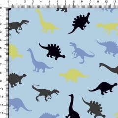 Tecido Tricoline Estampado Dinossauros Fundo Azul Bebe 5330v04