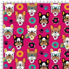 Tecido Tricoline Estampado Cachorro Donuts Fundo Pink 6450v08