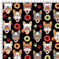 Tecido Tricoline Estampado Cachorro Donuts Fundo Preto 6450v06