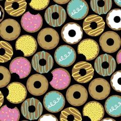 Tecido Tricoline Estampado Donuts Fundo Preto 3159