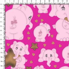 Tecido Tricoline Estampado Elefantes Fundo Pink 5363v03