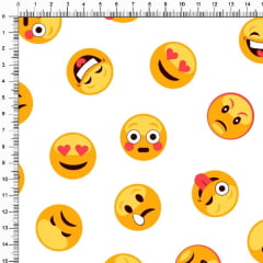 Tecido Tricoline Estampado Emoji Branco 5290-1