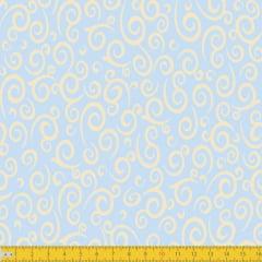 Tecido Tricoline Estampado Espiral Azul Bebê  Must Have 1255v10