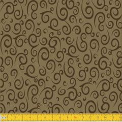 Tecido Tricoline Estampado Espiral Bege  Must Have 1255v05