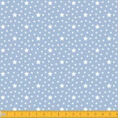 Tecido Tricoline Estampado Estrelas Fundo Azul 1229v082