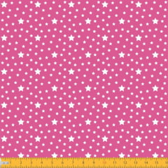 Tecido Tricoline Estampado Estrelas Fundo Pink 1229v108