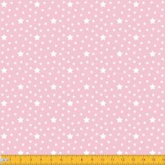 Tecido Tricoline Estampado Estrelas Fundo Rosa 1229v081