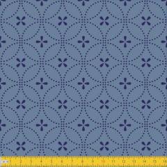 Tecido Tricoline Estampado Entrelinhas Azul Must Have 1234v02