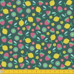 Tecido Tricoline Estampado Limão e Morangos 5028v01