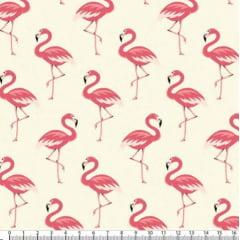 Tecido Tricoline Estampado Flamingos Amarelo Claro 5318v02