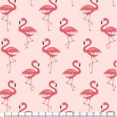 Tecido Tricoline Estampado Flamingos Rosa 5318v03