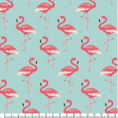 Tecido Tricoline Estampado Flamingos Tiffany 5318v01