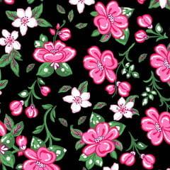 Tecido Tricoline Estampado Floral Rosa Fundo Preto  2563V2