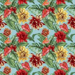 Tecido Tricoline Estampado Floral Colorido Fundo Azul 3377