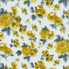 Tecido Tricoline Estampado Floral Amarelo Listrado 180976v02