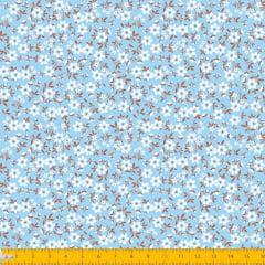 Tecido Tricoline Estampado Mini Floral Fundo Azul 2010v03