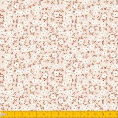 Tecido Tricoline Estampado Floral Botõe Fundo Bege Claro 2010v08