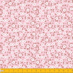 Tecido Tricoline Estampado Mini Floral Fundo Rosa 2010v02