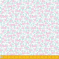 Tecido Tricoline Estampado Mini Floral Fundo Rosa Claro 2010v07