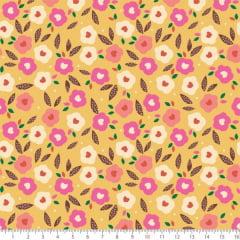 Tecido Tricoline Estampado Floral Coração Amarelo 8069v02