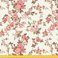 Tecido Tricoline Estampado Floral Delicado Bege 6025v01