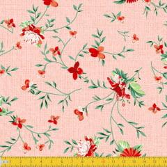 Tecido Tricoline Estampado Floral Delicado Fundo Texturizado Rose 8047v02