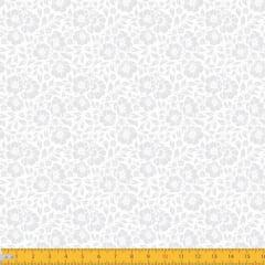 Tecido Tricoline Estampado Floral Desenhado Branco Sobre Branco 1177v203
