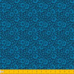 Tecido Tricoline Estampado Floral Desenhado Fundo Azul Escuro 1177v011