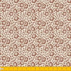 Tecido Tricoline Estampado Floral Desenhado Fundo Bege 1177v57