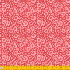 Tecido Tricoline Estampado Floral Desenhado Fundo Laranja 1177v010
