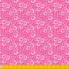 Tecido Tricoline Estampado Floral Desenhado Fundo Pink 1177v09
