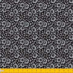 Tecido Tricoline Estampado Floral Desenhado Fundo Preto 1177v099